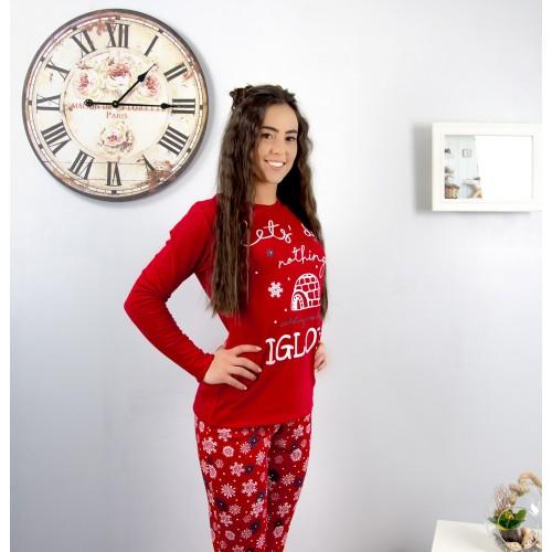 Дамска пижама с бродерия - Снежинки Igloo ReSleep